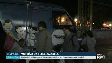 Mais de 7 mil pessoas foram vacinadas em Ponta Grossa durante mutirão - Meta é vacinar 90 mil pessoas contra a febre amarela.