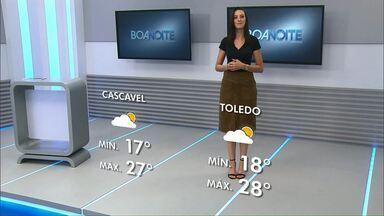 Previsão de sol para esta terça-feira no oeste do estado - Em Cascavel a temperatura máxima pode chegar aos 27 graus.