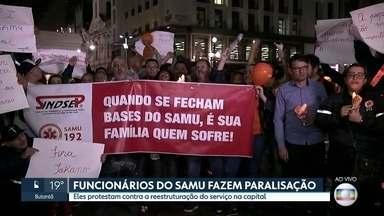 Funcionários do Samu fazem paralisação - Eles protestam contra a reestruturação do serviço na capital.