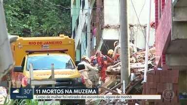 Sobe para 11 o número de mortos no desabamento de prédios na Muzema - O corpo de uma mulher foi retirado dos escombros na manhã desta segunda-feira (15).