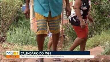Calendário: Moradores do Bairro Turmalina reclamam da falta de infraestrutura em Valadares - Rua Almenara tem diversas dificuldades no nivelamento das ruas e buracos que surgem há todo momento.