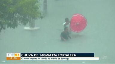 Domingo de chuva em Fortaleza. Funceme registrou 148 mm - Confira outras notícias no g1.com.br.ce