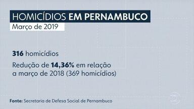 Pernambuco registra 316 homicídios em março de 2019 - Número teve redução de 14,36% em relação ao mesmo mês, em 2018.