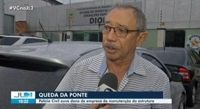 Empresário responsável pela manutenção das pontes da Alça Viária presta depoimento - Ele disse que o acidente, envolvendo uma balsa carregada com resíduos de dendê, não tinha como ser evitado.