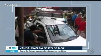 Polícia tenta identificar responsáveis por cometer vandalismo em Porto de Moz - Os vândalos levaram o veículo até a orla para ser jogado no rio Xingu.
