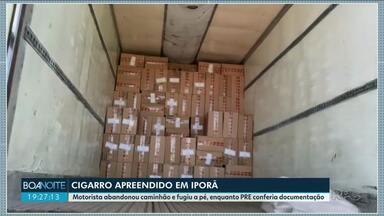 Motorista abandona caminhão enquanto policiais conferiam documentação - Veículo estava carregado com cigarros contrabandeados do Paraguai.