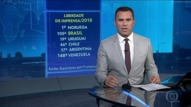 Brasil cai no ranking da segurança para o exercício da profissão de jornalista - Levantamento é da ONG francesa Repórteres sem Fronteiras. No mundo, Brasil está na posição número 105