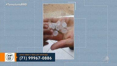 Moradores registram chuva de granizo em Porto Seguro - Confira nas imagens.