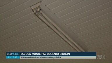 Aulas serão retomadas nesta terça-feira (22) na Escola Municipal Eugênio Brugin - A Escola teve parte da fiação elétrica roubada no fim de semana