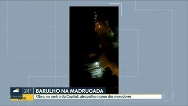 Telespectador reclama de barulho de britadeira durante a madrugada - Em vídeo na rua Tabatinguera é possível ouvir barulho alto de obra. Prefeitura e concessionárias como a Sabesp podem fazer obras emergenciais em qualquer horários.