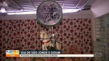 Dia de São Jorge e Ogum é celebrado com procissão na Zona Norte do Recife - Evento acontece há 50 anos na capital pernambucana.