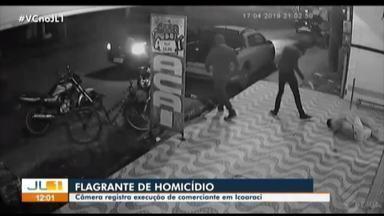 Câmeras de segurança registram execução no distrito de Icoaraci, em Belém - Carlos Augusto Pantoja foi morto a tiros em frente a um ponto de venda de açaí, onde trabalhava.