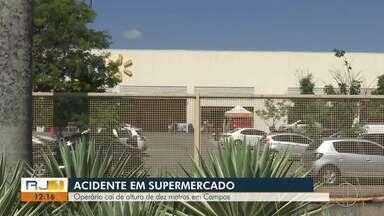 Operário cai de altura de dez metros em Campos, no RJ - Assista a seguir.