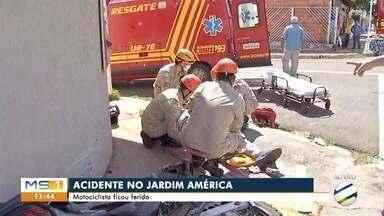 Acidente deixa motociclista ferido no Jardim América - Acidente deixa motociclista ferido no Jardim América