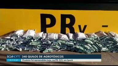 Polícia Rodoviária apreende 340 quilos de agrotóxicos em Iporã - A apreensão foi na PR-323;o motorista abandonou o carro e fugiu a pé.