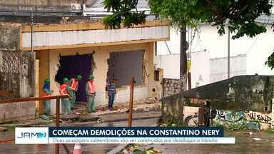 Começam demolições na Av. Constantino Nery, em Manaus - Duas passagens subterrâneas serão construídas no local.