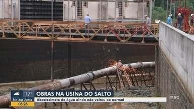 Após obras na Usina do Salto, abastecimento de água não está normalizado em Blumenau - Após obras na Usina do Salto, abastecimento de água não está normalizado em Blumenau