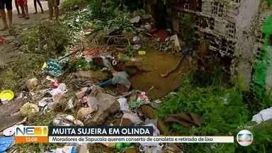Esquina de bairro em Olinda vira ponto de descarte de lixo - Moradores afirmam que caminhão quebrou tampa de concreto.