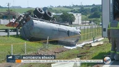 Caminhão carregado com 20 mil litros de óleo diesel tomba na Zeferino Vaz, em Paulínia - Segundo a Polícia Militar Rodoviária, motorista do caminhão estava alcoolizado no momento do acidente.