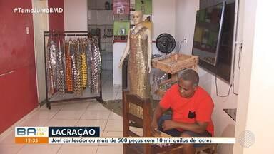 Pedreiro estilista desenvolve 'looks' sustentáveis em Salvador - O trabalho já foi exposto em desfiles e usado até por artistas; confira.