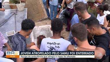 Corpo de jovem atropelado por ambulância do Samu é enterrado em Alagoinhas - Equipe envolvida no acidente foi afastada.