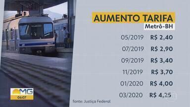 Reajuste da tarifa do metrô de BH vai ser dividido em etapas - Uma audiência na Justiça Federal definiu que o aumento da passagem vai ser parcelado entre maio deste ano e março do ano que vem.