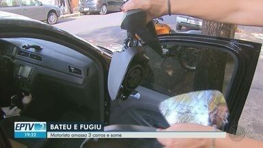 Motorista amassa três carros e some em Ribeirão Preto, SP - Câmeras de segurança podem ajudar a identificar responsável pelos estragos.