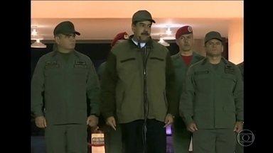 Na Venezuela, Maduro aparece na TV com soldados para demonstrar força - Justiça do país ordenou a prisão de um dos líderes da oposição Leopoldo López. Ele está abrigado como hóspede na residência do embaixador da Espanha, em Caracas.