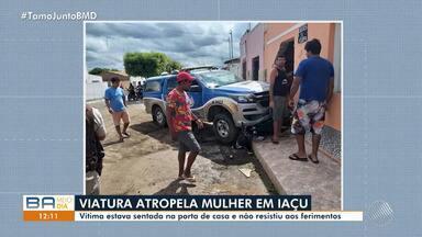 Mulher morre após ser atropelada por viatura da polícia na cidade de Iaçu - Vítima estava sentada na porta de casa e não resistiu aos ferimentos.