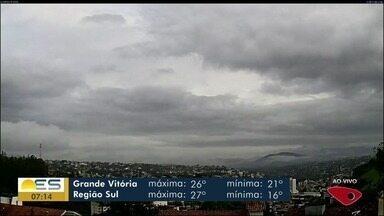Confira como fica a previsão do tempo no ES nesta quinta-feira, 9 de maio - Na Grande Vitória, máxima é de 26ºC e mínima é de 21ºC.