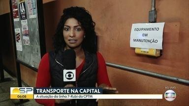 Passageiros encontram problemas na Linha 7-Rubi da CPTM - Na estação Perus, equipe do BDSP flagrou máquinas de recarga do bilhete único quebradas, além do perigo para os usuários na estação Vila Clarice, onde existe um grande espaço entre a plataforma e o vagão do trem.