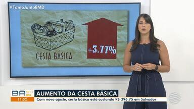 Pesquisa de preço: cesta básica cresce 3,77% em Salvador - Com novo ajuste, cesta básica está custando R$ 396,75.