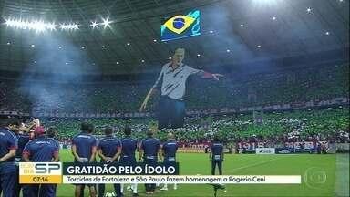 A atuação dos times paulistas na rodada do Campeonato Brasileiro - Fora de casa, o Palmeiras venceu o Atlético-MG. Com homenagens das duas torcidas para Rogério Ceni, o São Paulo superou o Fortaleza. No Pacaembu, o Santos ganhou do Vasco. E mesmo em Itaquera, o Corinthians apenas empatou com o Grêmio.