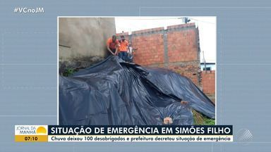 Prefeitura decreta situação de emergência após chuva forte em Simões Filho - Cerca de 100 pessoas ficaram desabrigadas na cidade.