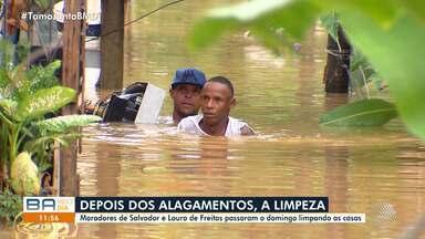 Domingo de limpeza: rios transbordam e deixa ruas e casas alagadas em Salvador e Lauro - Muitos moradores foram atingidos pelos alagamentos; confira.