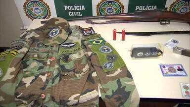 Polícia investiga grupo que finge ser militar e aplica golpes em Itaguaí - Fernando Luis da Silva Vidal foi preso por suspeita de participação na Patrulha Aérea Civil em Itaguaí. O grupo engana pessoas dizendo ser militar e pede dinheiro para participar da fraude.