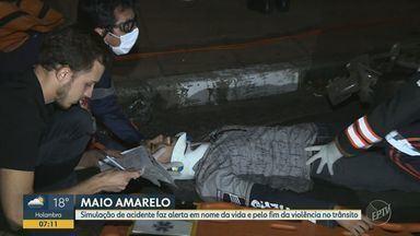 Campinas teve simulação de acidente na Avenida Norte-Sul - Equipes de socorro fizeram o treinamento na altura do Viaduto Laurão.