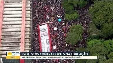 Protestos contra os cortes na educação - Estudantes, professores e funcionários de instituições de ensino foram às ruas em várias cidades paulistas nesta quarta-feira