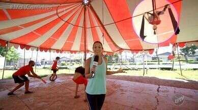 'No Meu Pique' desafia Cris Ikeda em um circuito circense - Cris Ikeda foi conferir como são exercícios tradicionais do circo, que agora se popularizaram e muitas pessoas procuram a prática para melhorar a boa forma. Ela se arriscou em quatro modalidades: acrobacias de solo, mini tramp, tecido e lira!
