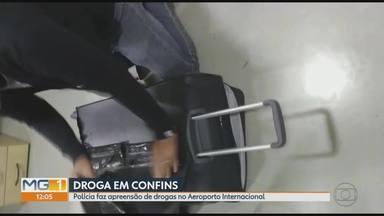Homem é preso com pasta base de cocaína no Aeroporto de Confins, na Grande BH - Droga foi encontrada escondida dentro de uma mala.