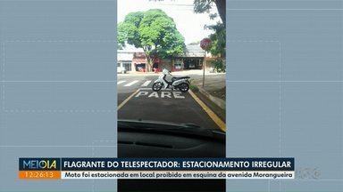 Telespectador flagra oto estacionada em local (muito) irregular - Flagrante foi no Jardim Alvorada.