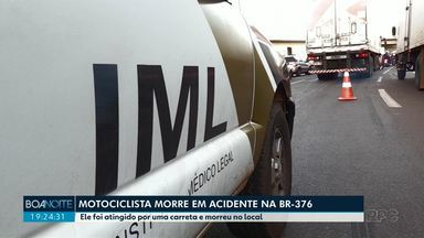 Motociclista morre em acidente na BR 376 - Ele foi atingido por uma carreta e morreu no local