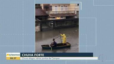 Ruas ficam parecendo rios por causa da chuva em Campos - Segundo Prefeitura, foram 113 milímetros de chuva na cidade apenas nesta sexta-feira (17).