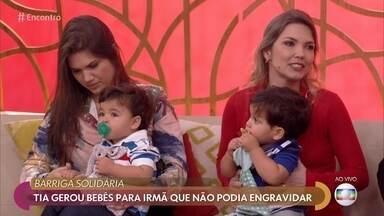 Tia gerou bebês para irmã que não podia engravidar - Melina se ofereceu para gestar os filhos da irmã e teve Luca que Bento, que hoje estão com 2 aninhos