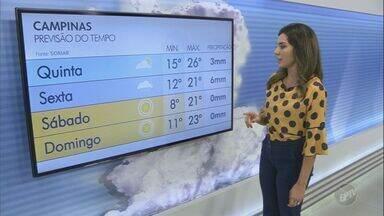 Campinas tem máxima de 26ºC nesta quinta-feira - Confira a previsão do tempo para as cidades da região.