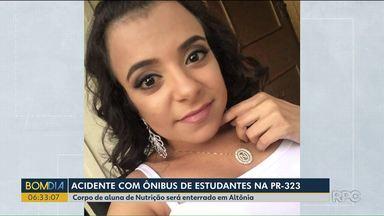 Corpo de estudante de Nutrição será enterrado em Altônia - A jovem morreu num acidente de ônibus na PR-323
