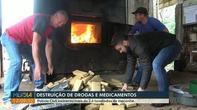 Polícia Civil destrói drogas e medicamentos apreendidos - Foram incinerados mais de 2,6 toneladas de maconha.