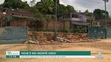 Fala Comunidade: Moradores reclamam de quadra de esporte interditada no Monte Sião - Local ficou comprometido após chuva.