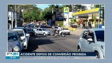Carro e motocicleta se envolvem em acidente na Rua Padre João Goetz - Batida aconteceu em Presidente Prudente.