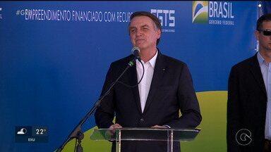 Presidente da república Jair Bolsonaro cumpriu agenda nesta sexta-feira em Petrolina. - Na visita, ele inaugurou um residencial que faz parte do programa minha casa minha vida, e falou sobre a importância do nordeste na unificação do país.